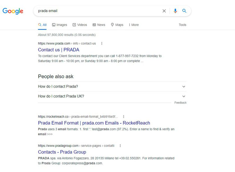 prada email google search results