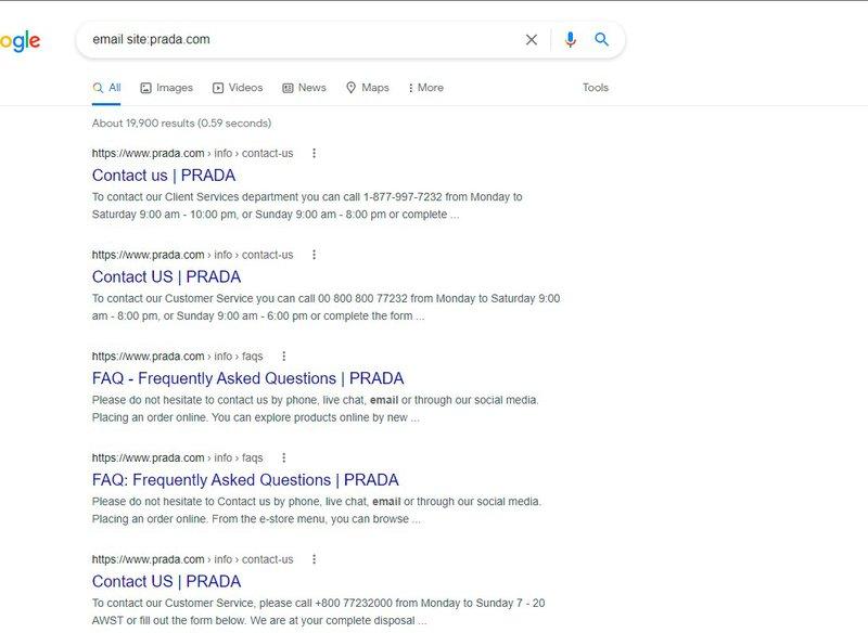 email site:prada.com google search results